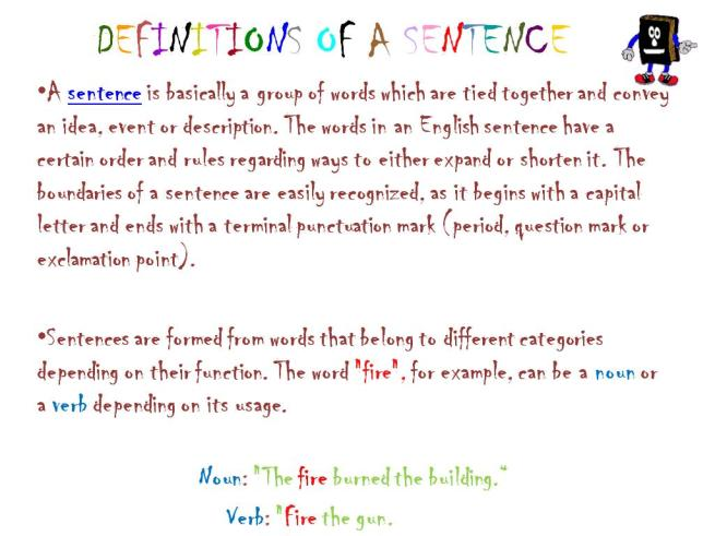 Definitions of a sentence